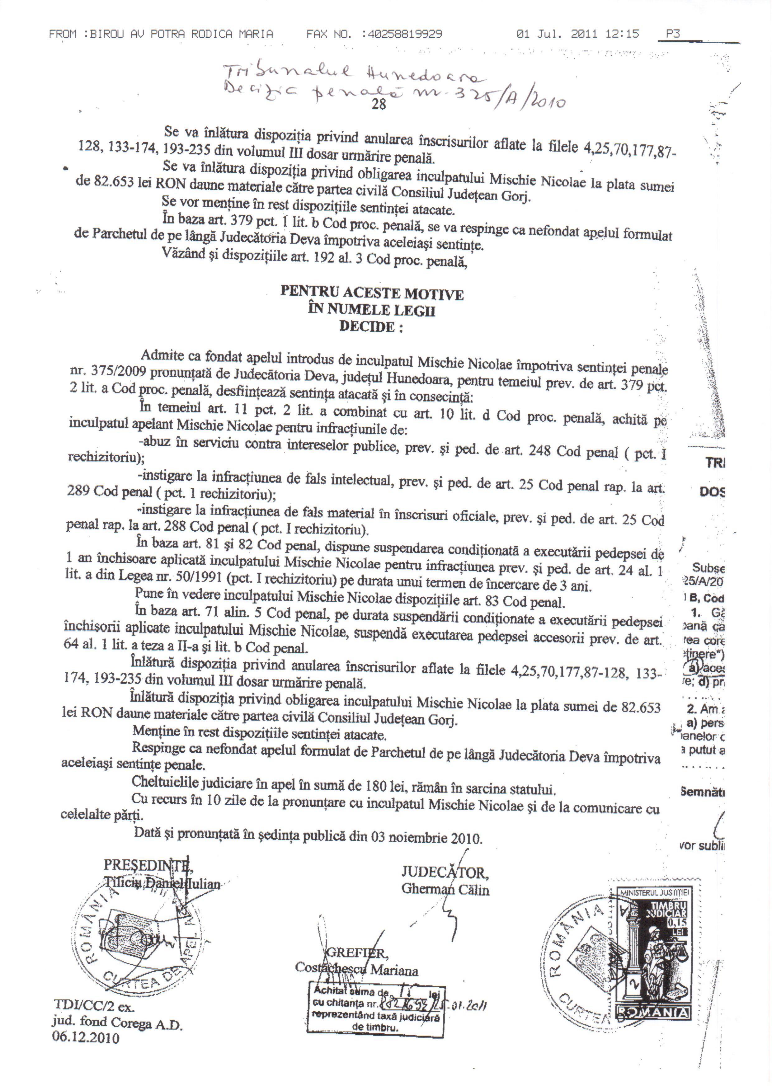 Decizie penala Nr. 325_A_2010
